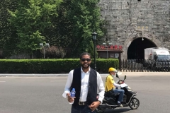 Akan getting a drink after a walk in Nanjing China
